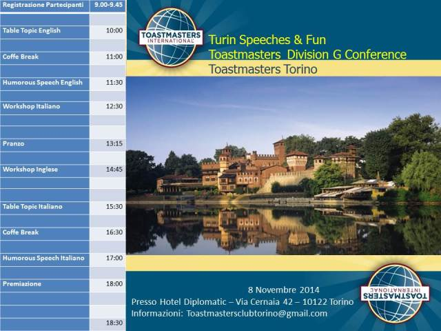 programma conferenza nazionale Toastmasters public speaking